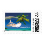 Palm Tree, Ocean & Hammock Retirement Party Postage Stamps