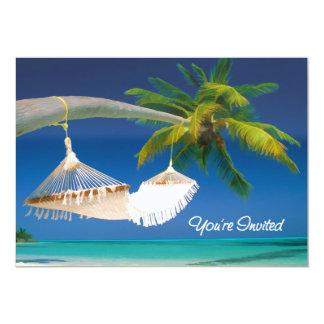 Palm Tree, Ocean & Hammock You're Invited 5x7 Paper Invitation Card