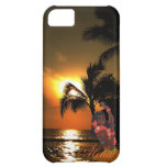 Palm Tree Ocean Sunset with Grass Skirt Hula Girl iPhone 5C Case