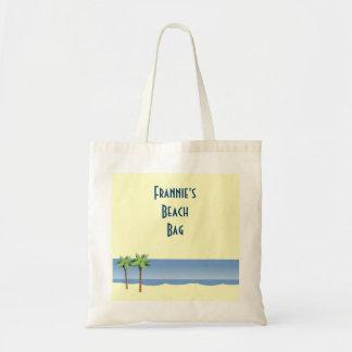Palm Tree Ocean Waves Beach Scene Custom Name Tote Bag