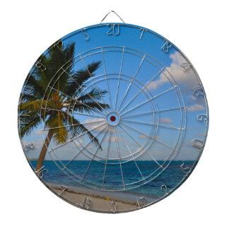 Palm Tree on a Beach Dartboard With Darts