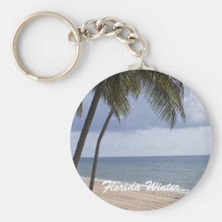 Palm tree on beach Florida Winter Key Chains