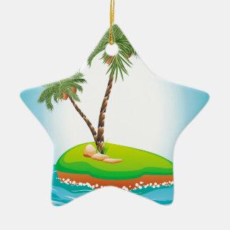 Palm Tree on Island Ceramic Ornament