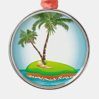 Palm Tree on Island Metal Ornament