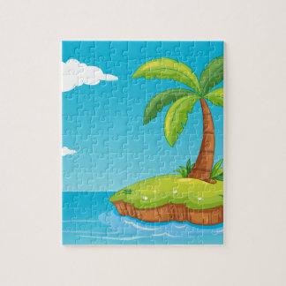 palm tree on island jigsaw puzzles