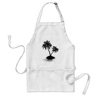 Palm Tree on Island Silhouette 2 Adult Apron