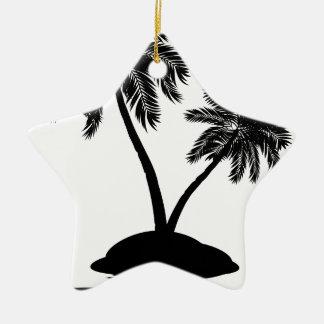 Palm Tree on Island Silhouette 2 Ceramic Ornament