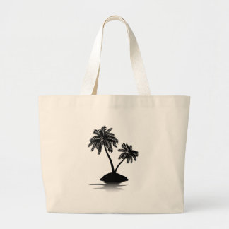 Palm Tree on Island Silhouette 2 Large Tote Bag