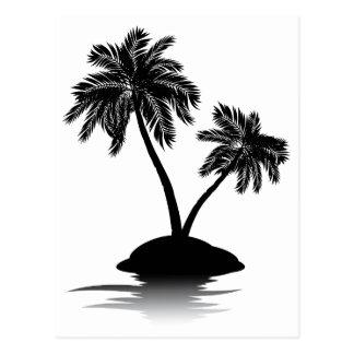 Palm Tree on Island Silhouette 2 Postcard