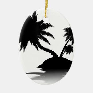 Palm Tree on Island Silhouette 3 Ceramic Ornament