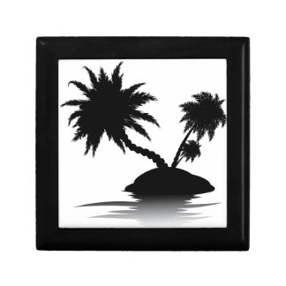 Palm Tree on Island Silhouette 3 Gift Box