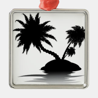 Palm Tree on Island Silhouette 3 Metal Ornament