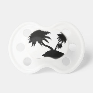 Palm Tree on Island Silhouette 3 Pacifier