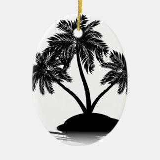 Palm Tree on Island Silhouette 4 Ceramic Ornament