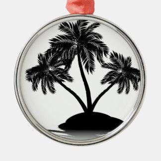 Palm Tree on Island Silhouette 4 Metal Ornament