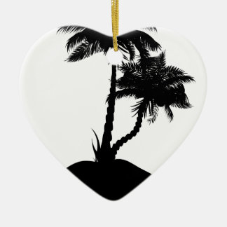 Palm Tree on Island Silhouette Ceramic Ornament