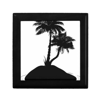 Palm Tree on Island Silhouette Gift Box