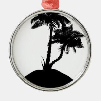 Palm Tree on Island Silhouette Metal Ornament