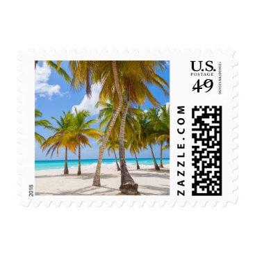 Beach Themed Palm Tree on the Beach Coastal Vacation Postage