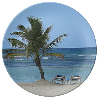 Palm Tree on the Beach Dinner Plate