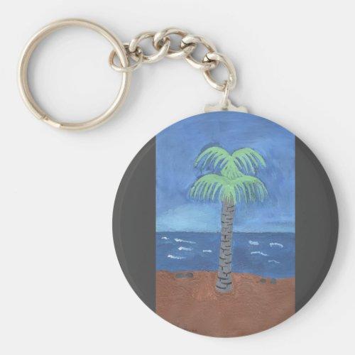 Palm Tree On The Beach Key Chain