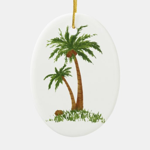PALM TREE Double-Sided OVAL CERAMIC CHRISTMAS ORNAMENT
