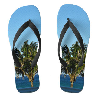Palm Tree Over The Ocean Flip Flops