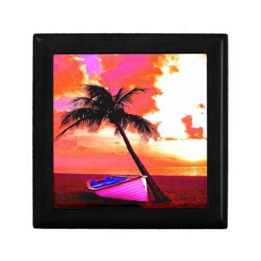 palm tree palm ocean summer vacation boat beach gift boxes