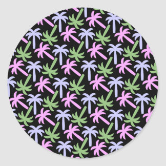 palm tree pattern classic round sticker