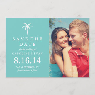 Palm Tree Photo Wedding Save the Date {aqua}