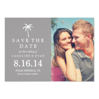 Palm Tree Photo Wedding Save the Date {gray} Card