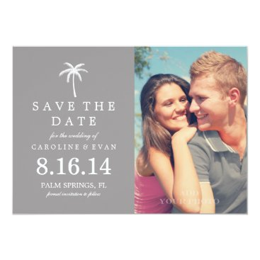 heartlocked Palm Tree Photo Wedding Save the Date {gray} Card