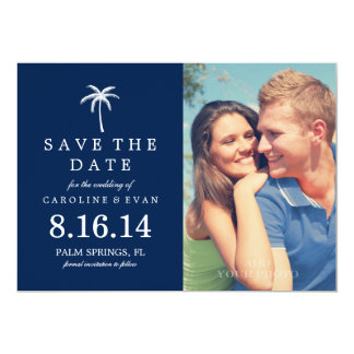 Palm Tree Photo Wedding Save the Date {navy blue} 5x7 Paper Invitation Card