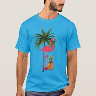 Palm Tree, Pink Flamingo, Pineapple Adult T-Shirt