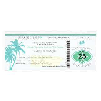 Palm Tree Puerto Rico Boarding Pass Wedding Card