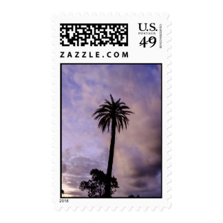 Palm Tree Purple Sky Postage