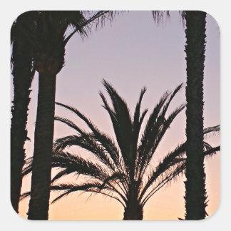 Palm Tree Purple Sunset Photography Square Stickers