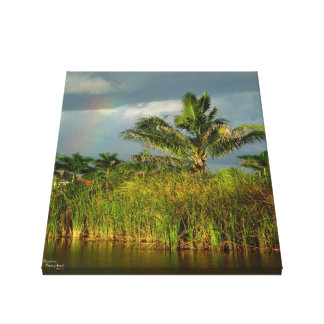 Palm tree rainbow Stretched Canvas Print