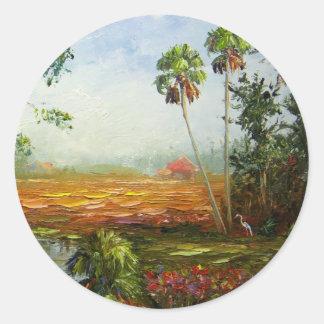 Palm Tree Ranch Classic Round Sticker