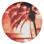 Palm Tree & Red Sunset Dinner Plates