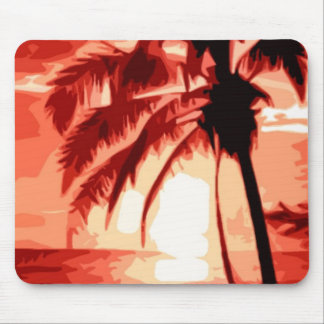 Palm Tree & Red Sunset Mouse Pad