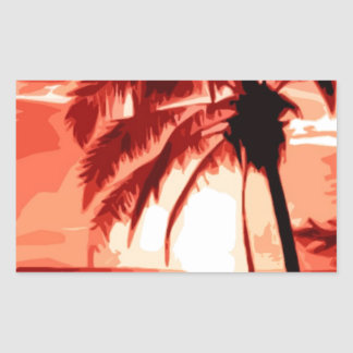 Palm Tree & Red Sunset Rectangular Sticker