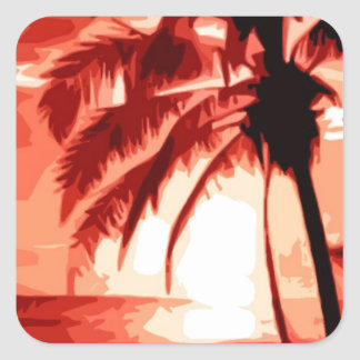 Palm Tree & Red Sunset Square Sticker