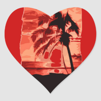 Palm Tree & Red Sunset Heart Sticker