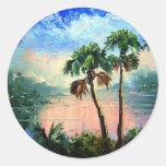 Palm Tree Reflections Classic Round Sticker