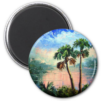 Palm Tree Reflections Fridge Magnet