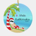 Palm Tree Relaxing Santa Hawaiian Christmas Double-Sided Ceramic Round Christmas Ornament