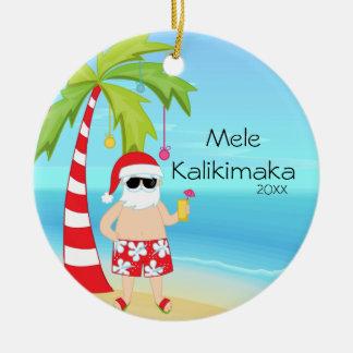 Palm Tree Relaxing Santa Hawaiian Christmas Christmas Tree Ornaments