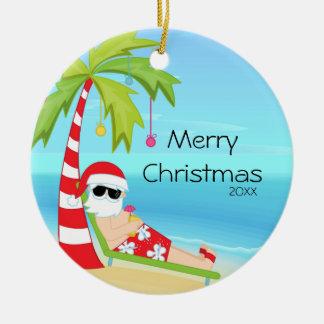 Palm Tree Relaxing Santa Tropical Christmas Christmas Tree Ornaments