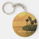 Palm Tree Reverie Custom Basic Round Button Keychain